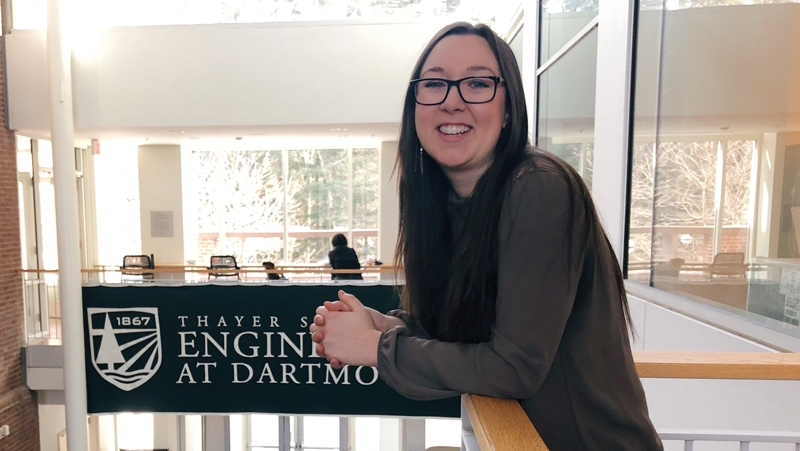 A photo of Colleen '19 in the Thayer School of Engineering