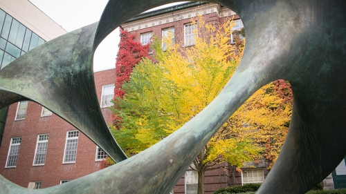 A photo of the sculpture in front of Wilder Hall