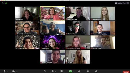 "A weekly Zoom ""huddle"" with Professor Petra Bonfert-Taylor's ""ENGS 20"" learning fellows and Erin DeSilva, assistant director of Learning Design and Technology."