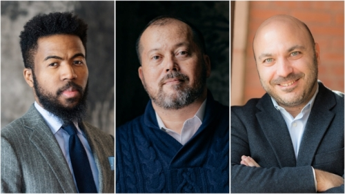 From left are 2021 Guggenheim winners Assistant Professor Joshua Bennett, Associate Professor Alexander Chee, and Professor Tarek El-Ariss.