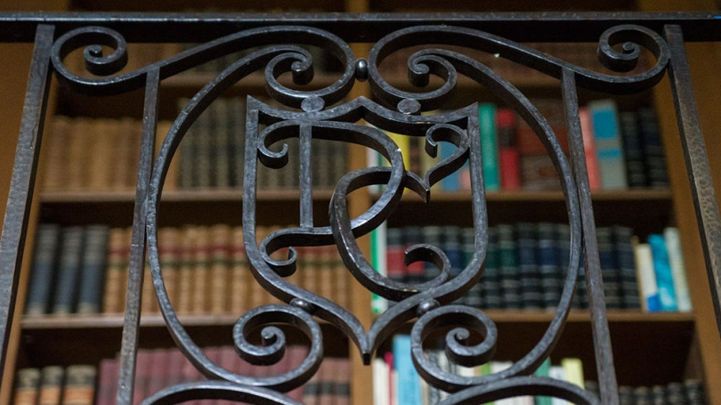 "A detail of ironwork with a ""D"" and a ""C"""