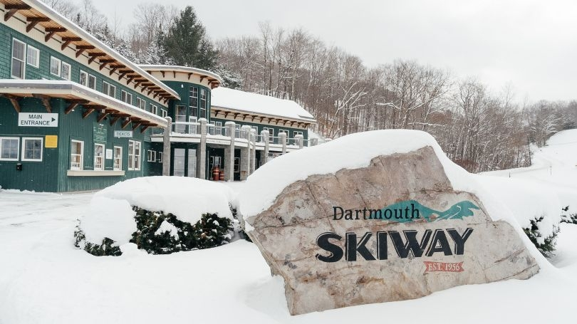 the snow covered entrance to the Dartmouth Skiway