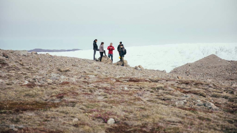 Students conducting experiments in Greenland