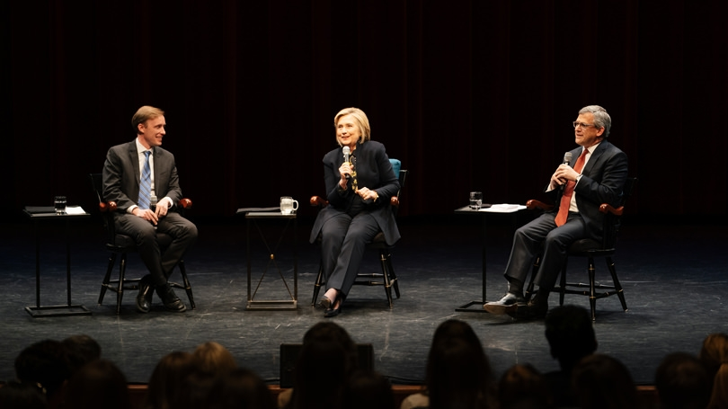 Hillary Rodham Clinton speaks to an overflow crowd at Spaulding Auditorium flanked by the Dickey Center's Jake Sullivan and Daniel Benjamin