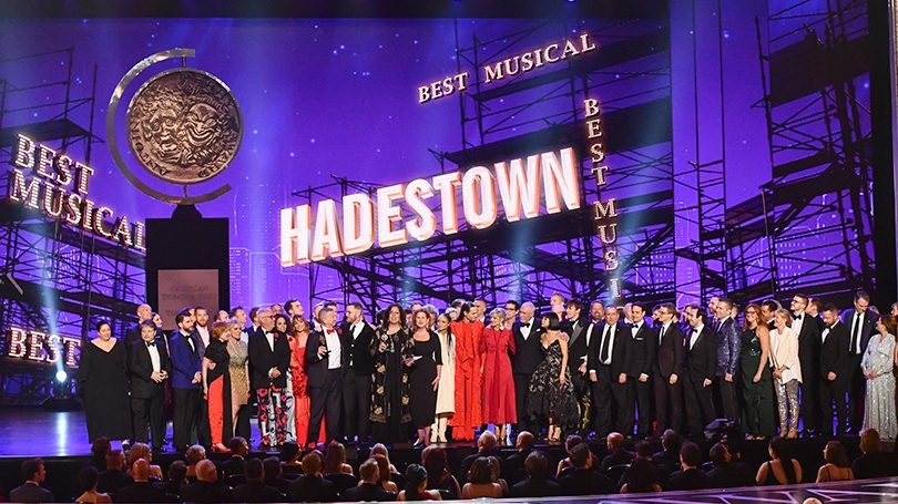 """The company of """"Hadestown"""" accept the award for best musical at the Tony Awards at Radio City Music Hall in New York on Sunday."""