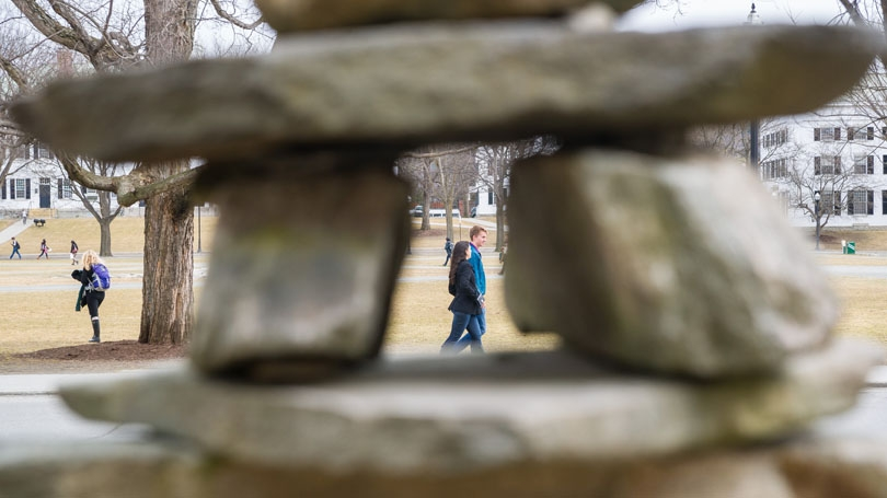 """Framing the Green, this inuksuk, or """"likeness of a person,"""" was built by hand with stones from a field in Haverhill, N.H.,"""