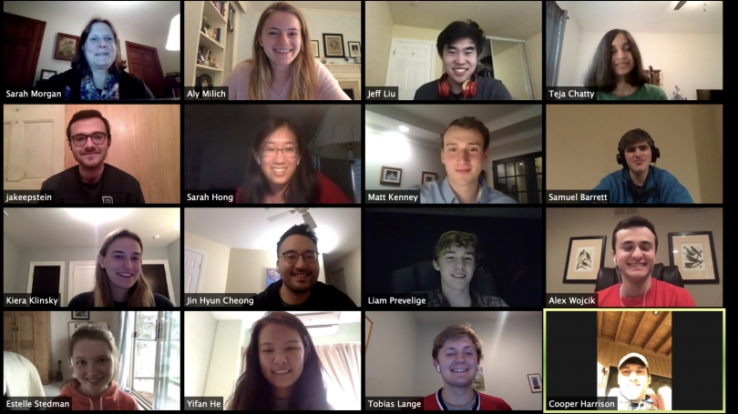Magnuson Center Program Manager Sarah Morgan, top left, leads a Zoom session with student entrepreneurs, from left, from top to bottom, Aly Milich '21, Jeff Liu '23, Teja Chatty, Thayer '21, Jake Epstein '21, Sarah Hong '21, Matt Kenney '21, Samuel Barret