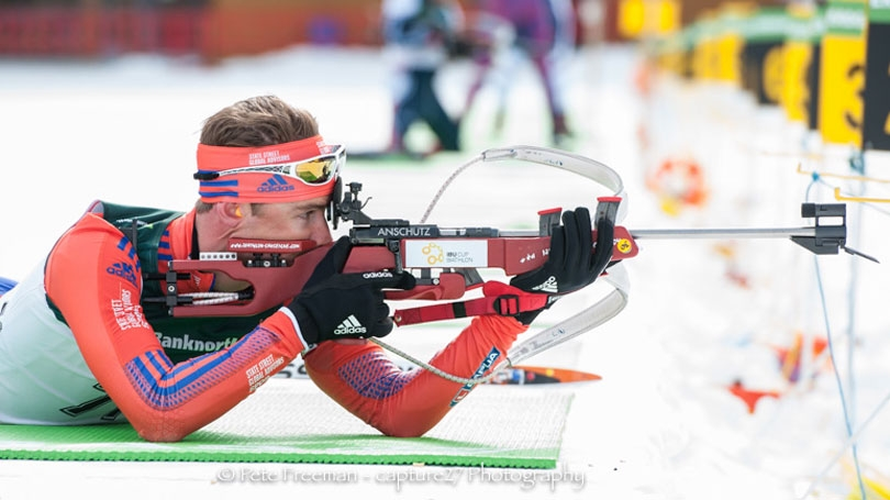 Max Durtschi taking aim during biathlon