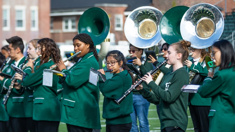 Members of the Dartmouth Marching Band perform at the Oct. 12 homecoming football game.