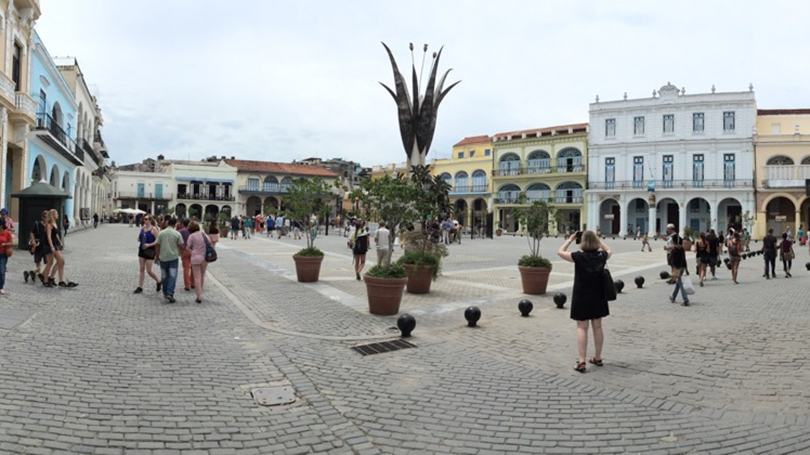 Historic architecture surrounds the popular Plaza Vieja in old Havana.