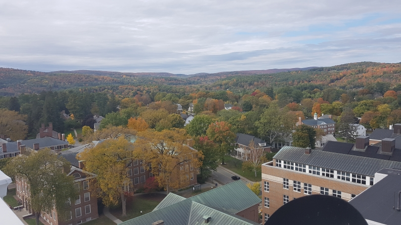 the view of campus from the top of the clock tower