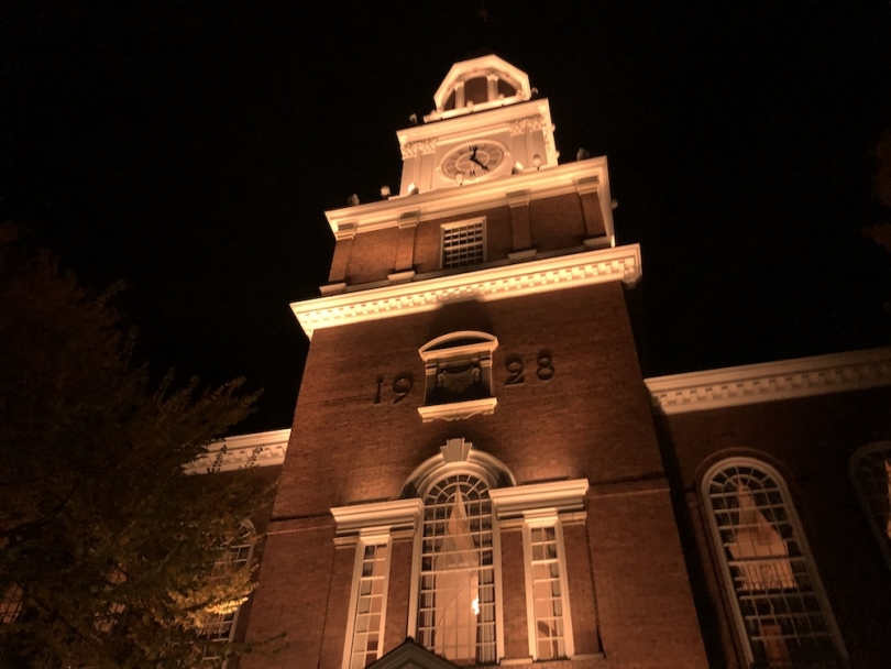 Baker Library Tower at night