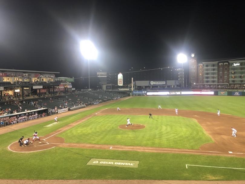 A baseball park at night