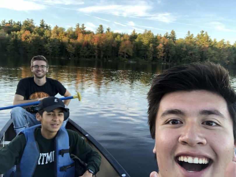 Gabe Gilbert and friends while canoeing at Grafton Pond