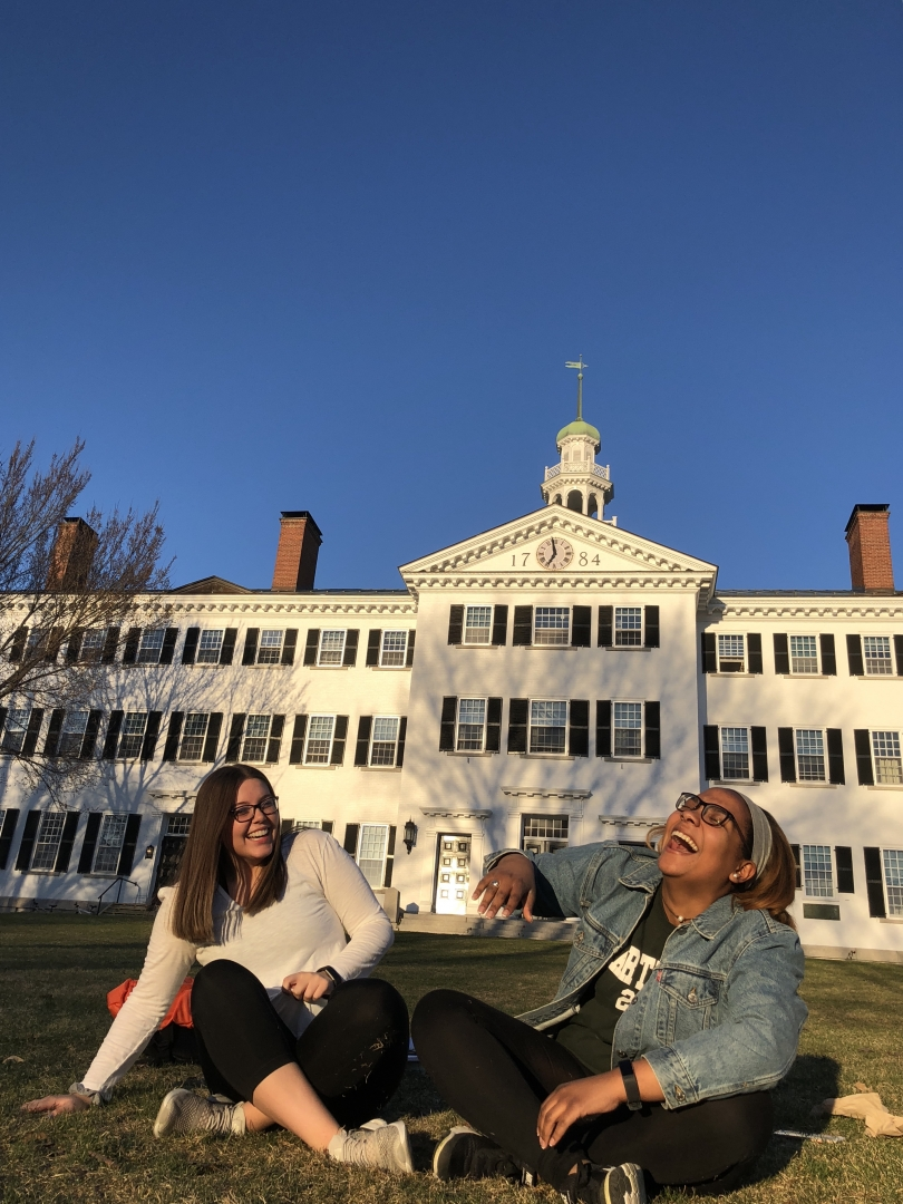 Friends in front of Dartmouth Hall.