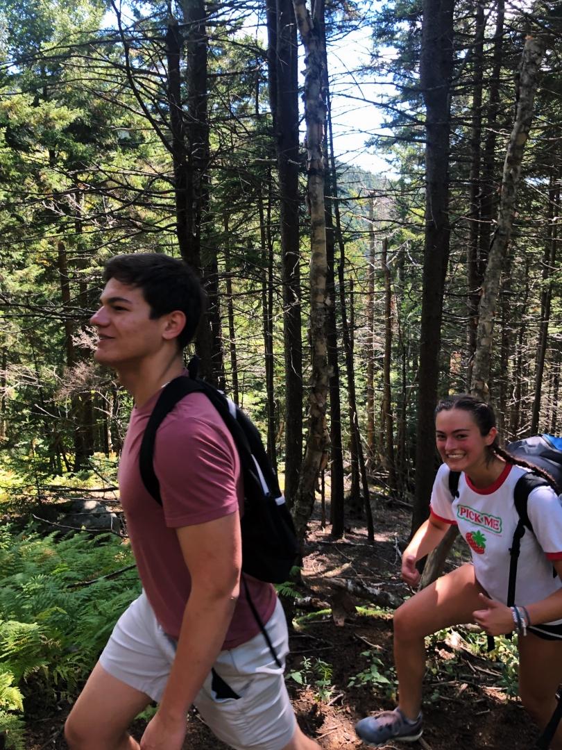Ari and Meggie hike up Mt. Ascutney.