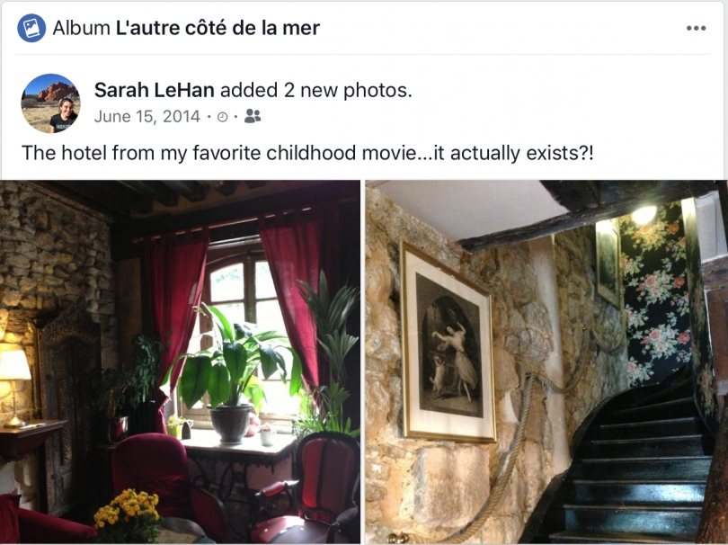 facebook post of hotel from favorite childhood film