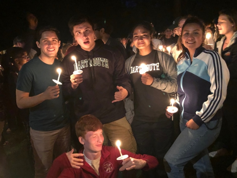 Gabe and friends during candlelight ceremony