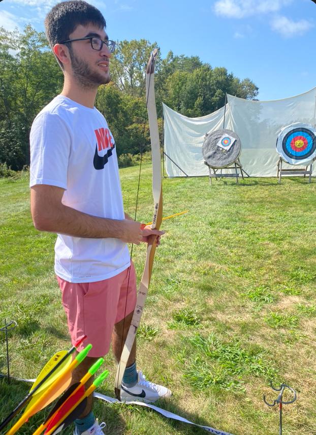 My friend doing archery with me!