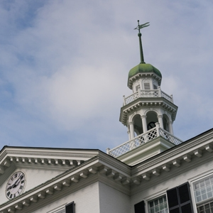 A photo of the spire on top of Dartmouth Hall