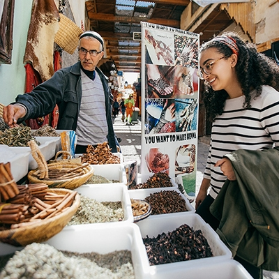 A student at a market in Morocco
