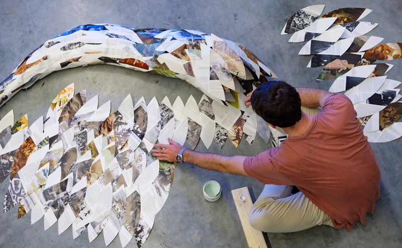 An image of a student working on an art project