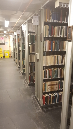 stacks of books in the library