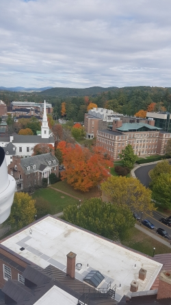 A view of Dartmouth's campus from the clock tower