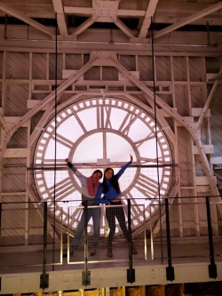 Two students in Dartmouth's Baker Clock Tower