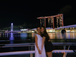 Me and My Mom in Front of Singapore's Famous Marina Bay Sands