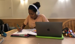 I typically spend my weekday evenings completing my readings and finishing up my homework inside the study rooms in McLaughlin!