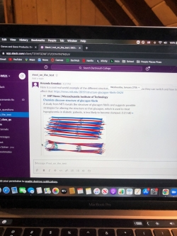 """A picture of my computer with the """"not on the test"""" slack channel pulled up."""