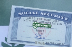 A picture of my social security card with a beautiful Dartmouth backdrop