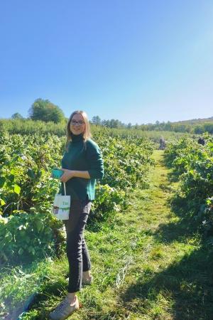 Isabel picking berries