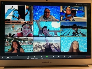 A zoom video call of the Women's Water Polo team!