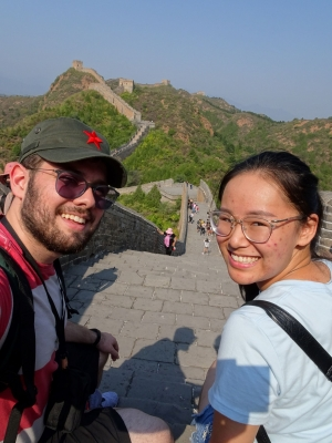 Two students posing for a photo at the Great Wall of China
