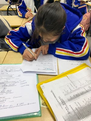 A student reviewing her tests