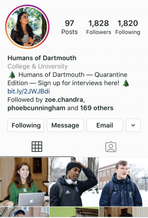 humans of dartmouth instagram page screenshot student club