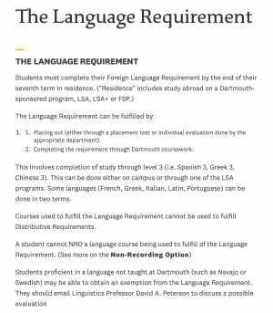The Language Requirement