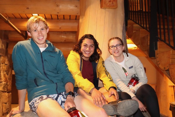 Isabel and friends at the new lodge