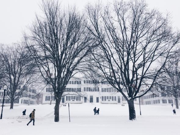 Dartmouth Hall snow