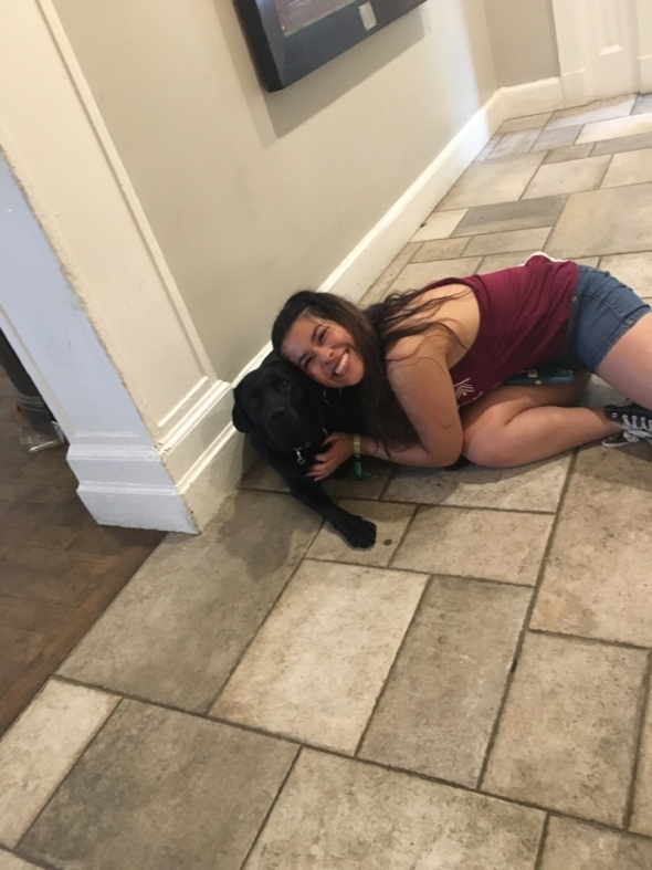 teresa with a dog