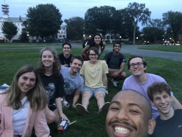 Having Dinner on the Green with Some Brothers and Other Friends