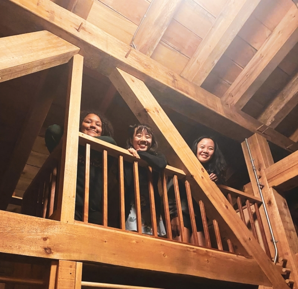 Three girls in bunkhouse