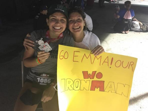 mom and girl with ironman sign