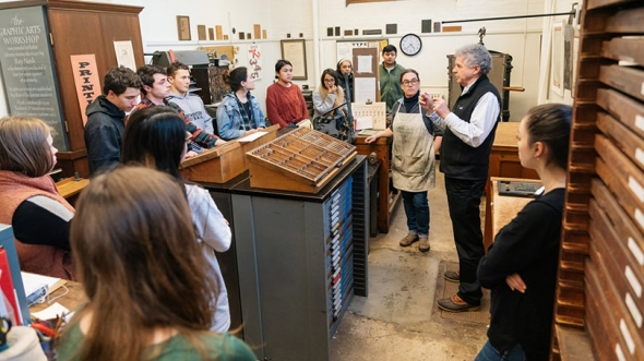 """Earlier this year, Professor Colin Calloway's """"Pen and Ink Witchcraft"""" class learned to make prints using Cherokee type in the Book Arts Workshop."""